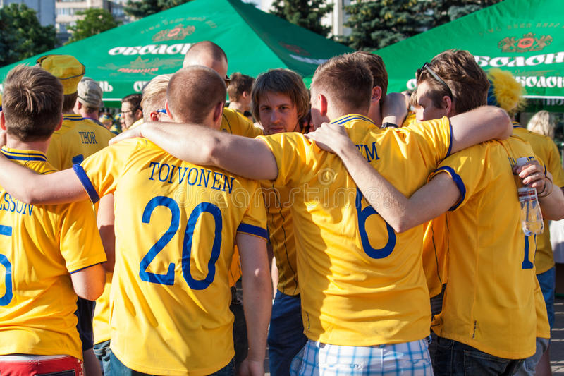 Ventilatori della squadra nazionale svedese fotografia stock