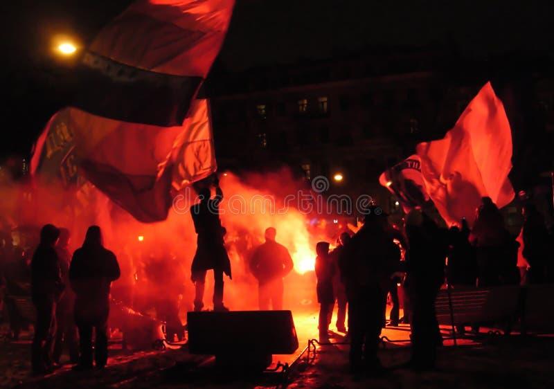 Ventilatori di calcio che celebrano fotografia stock libera da diritti