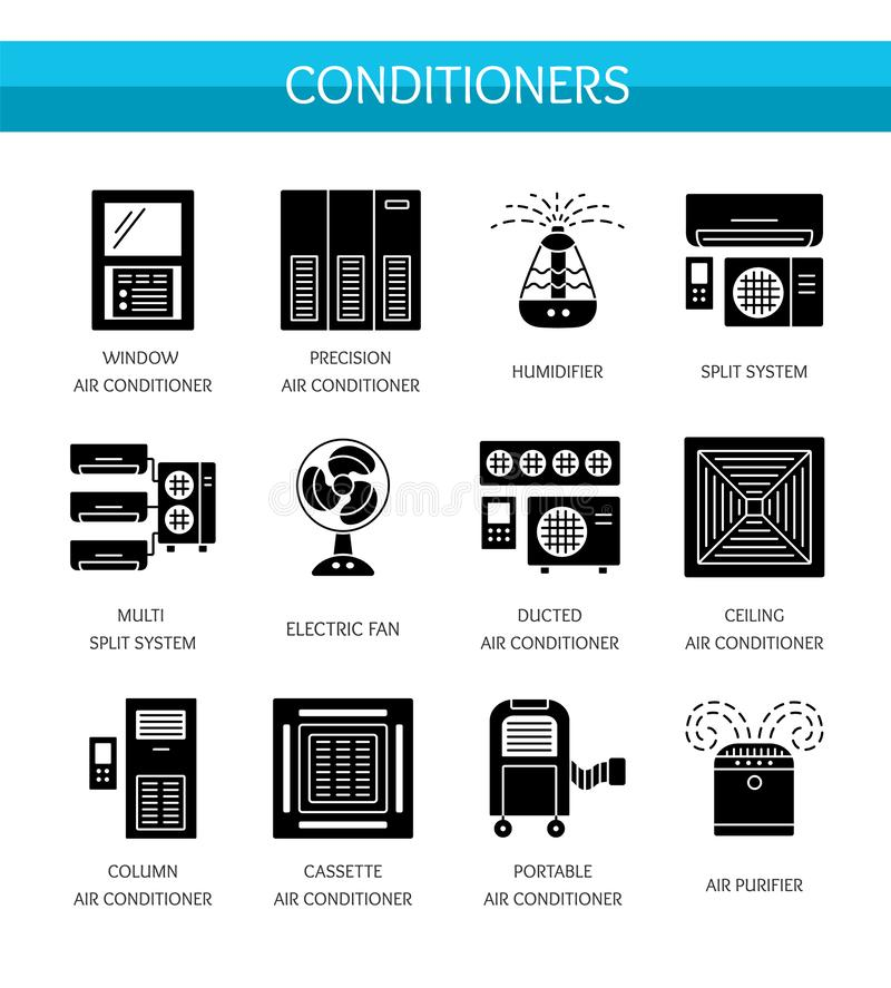 Ventilators & Air conditioners. HVAC equipment. Split system, electric fan, purifier, humidifier. Vector flat icon set. Isolated. Objects on white background stock illustration