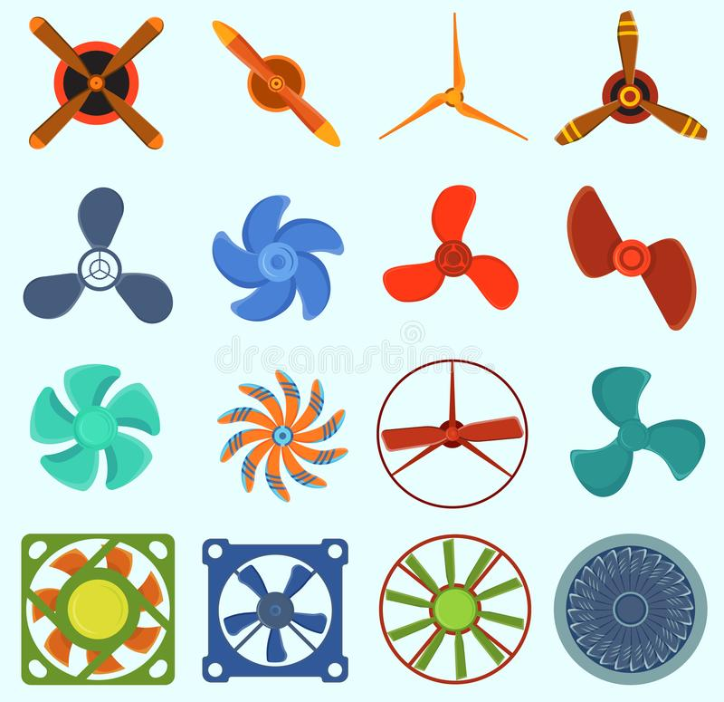 Ventilators en propellers vectortechnologiepictogrammen geïsoleerd voorwerp De pictogrammen van de propellerventilator koelen ret vector illustratie