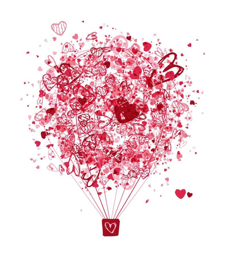 Ventile el concepto del amor, globo con los corazones para su libre illustration