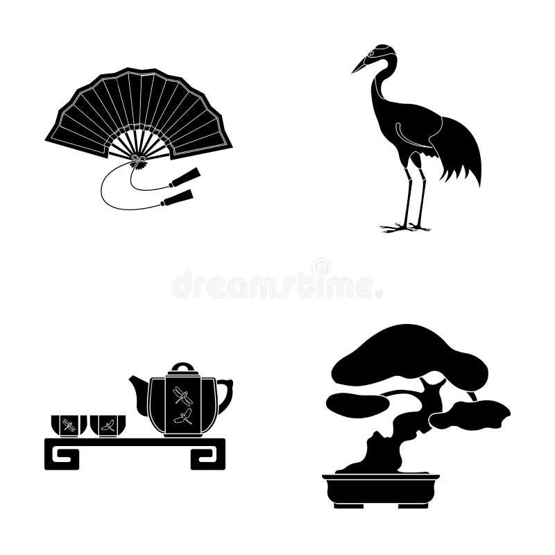 Ventile, guindaste vermelho da coroa, cerimônia de chá, bonsai Os ícones ajustados da coleção de Japão no estilo preto vector a i ilustração do vetor