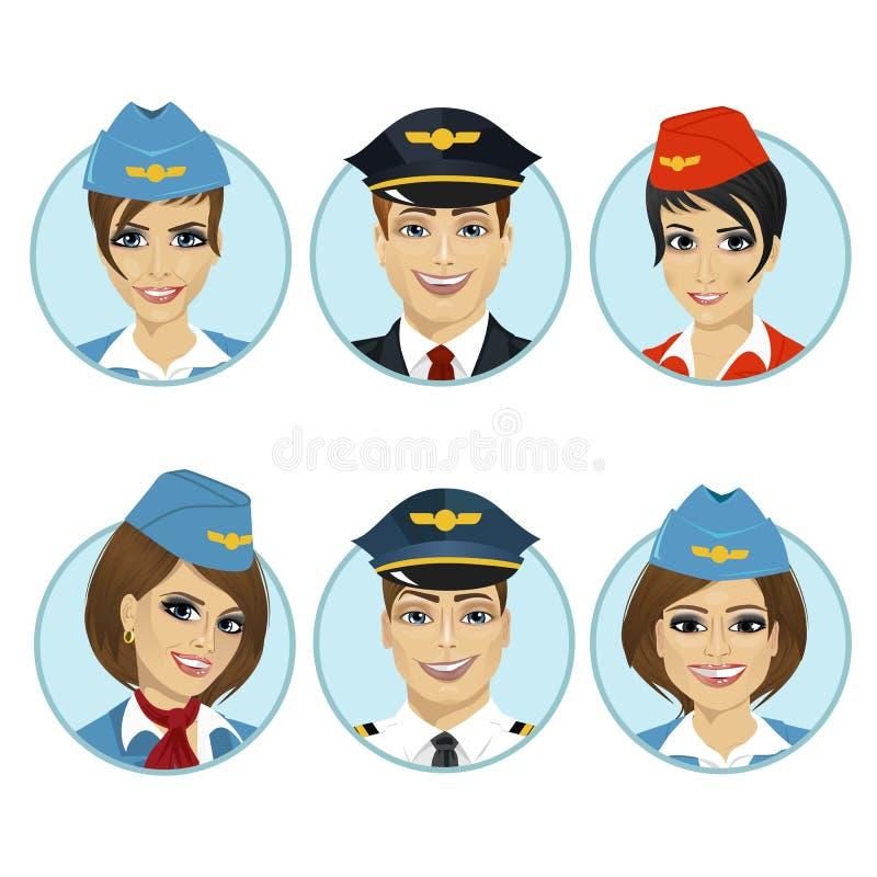Ventile a los avatares del miembro del equipo de pilotos y de azafatas stock de ilustración
