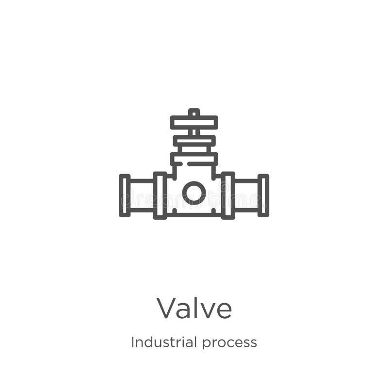 ventilsymbolsvektor från samling för industriell process Tunn linje illustration för vektor för ventilöversiktssymbol Översikt tu stock illustrationer