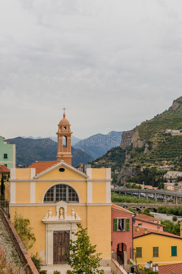 A typical view in Ventimiglia Italy. Ventimiglia Italy. 14 June 2019. A view of a church in Ventimiglia Italy stock photo