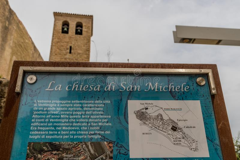 A typical view in Ventimiglia in Italy. Ventimiglia Italy. June 14 2019. A view of a sign for Chiesa di San Michele Arcangelo in the medieval old town in royalty free stock photography