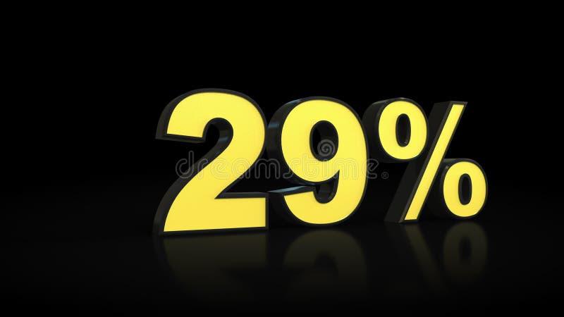 Ventinove rappresentazioni di per cento 3D di 29% illustrazione vettoriale