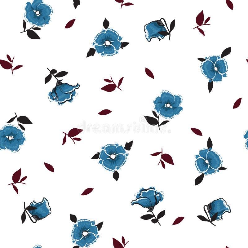 Vento blu d'avanguardia che soffia modello floreale nei molti genere di f royalty illustrazione gratis