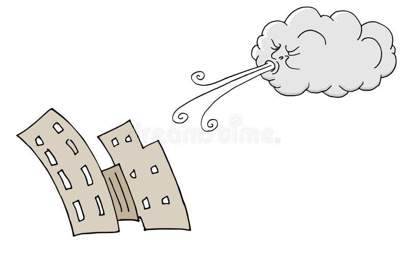 Vento de sopro de Windy Day Buildings e da nuvem ilustração do vetor