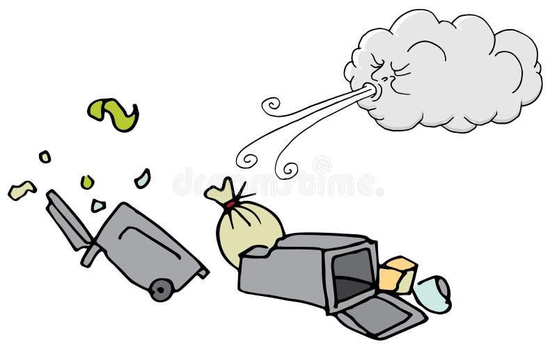 Vento de sopro de Windy Day Trash Cans e da nuvem ilustração do vetor