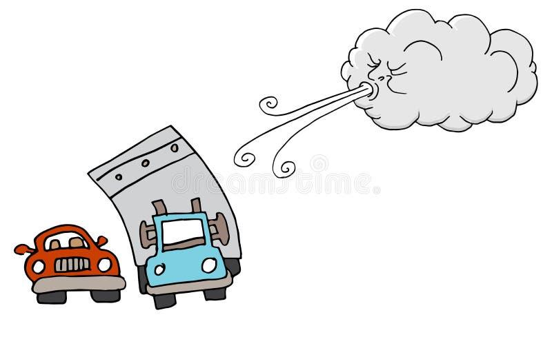 Vento de sopro de Windy Day Truck Cars e da nuvem ilustração stock
