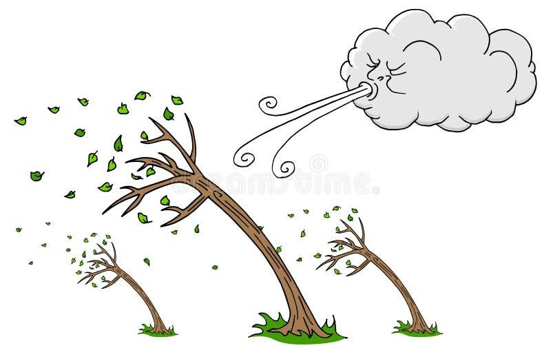 Vento di salto della nuvola e di Windy Day Trees royalty illustrazione gratis