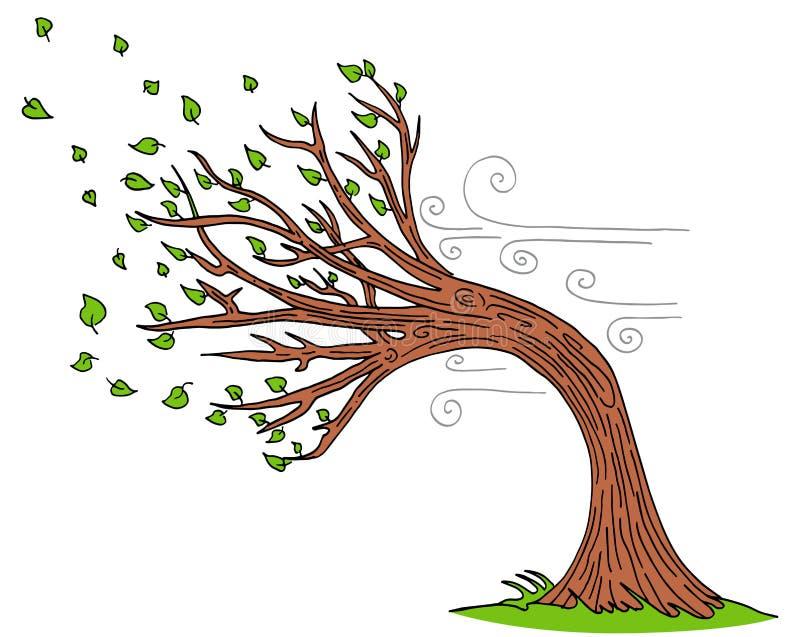 Vento di salto Windy Day Tree illustrazione di stock