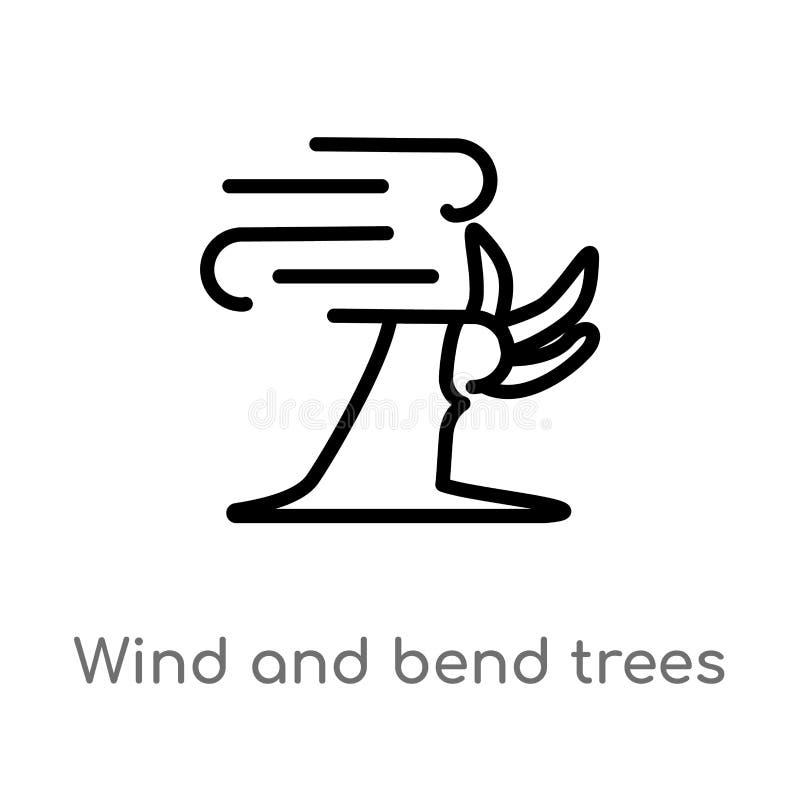 vento do esbo?o e ?cone do vetor das ?rvores da curvatura linha simples preta isolada ilustra??o do elemento do conceito da meteo ilustração stock