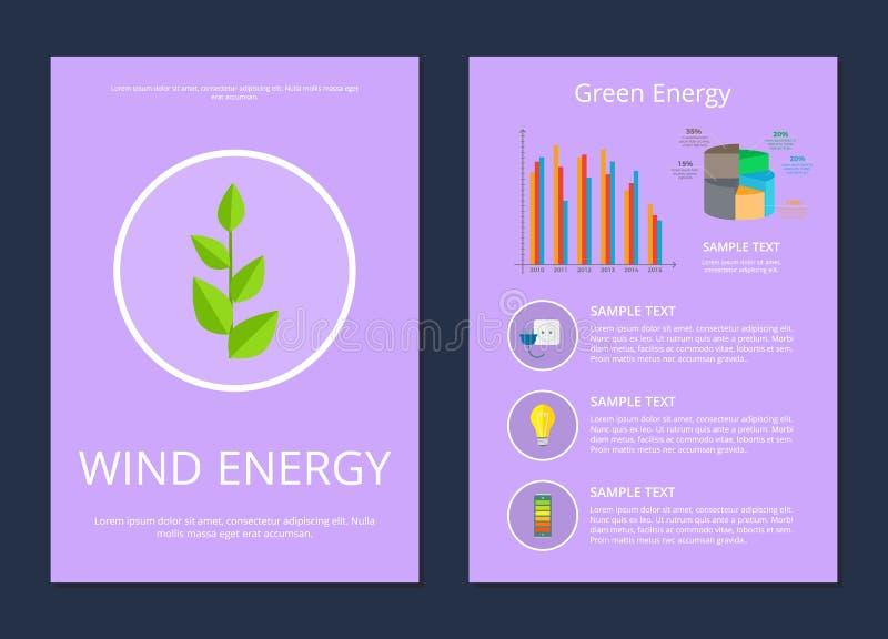 Vento ed illustrazione stabilita di vettore di energia verde royalty illustrazione gratis