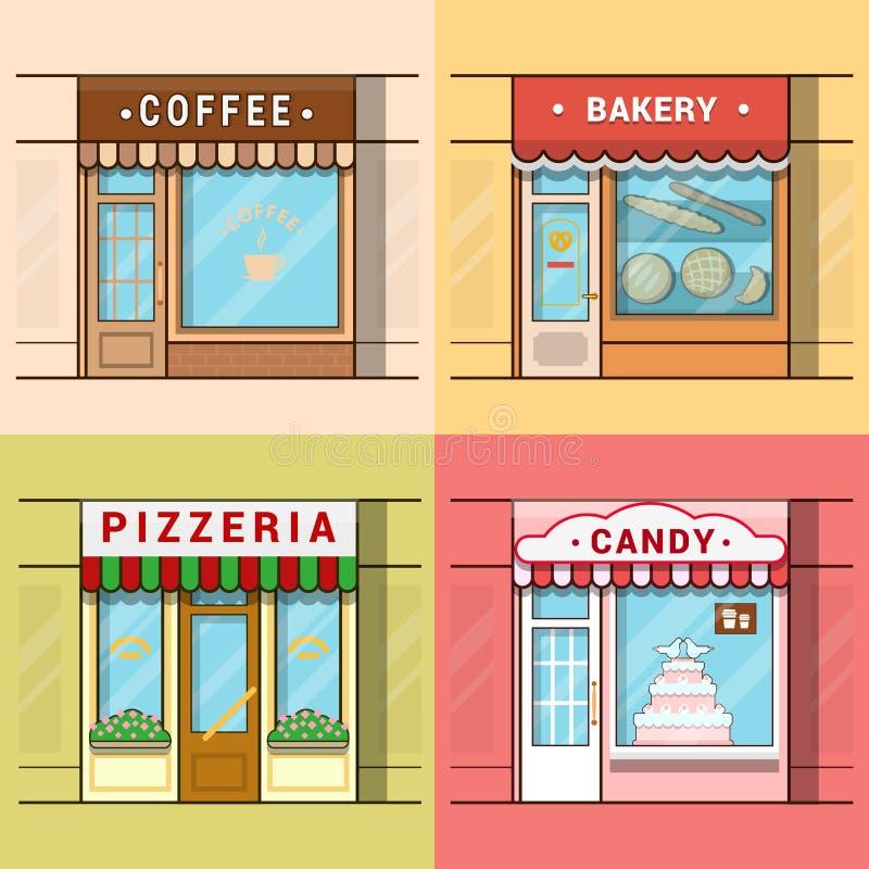 Vento local pequeno da loja da montra da mostra do negócio ilustração stock