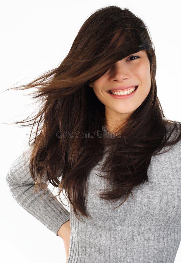 Vento no cabelo imagens de stock