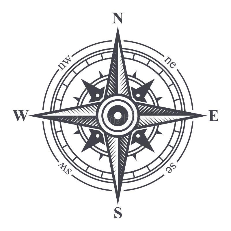 Vento Rosa ou ícone do compasso no fundo branco Vetor ilustração stock
