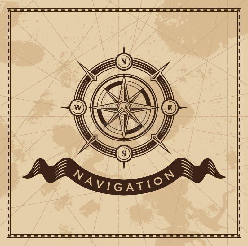 Vento Rose Nautical Compass do vintage ilustração royalty free