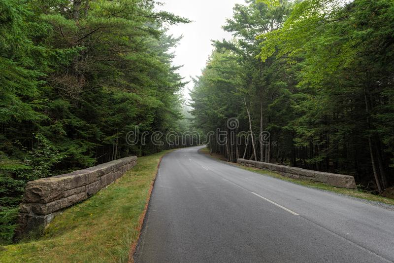 Ventos De Estrada Através Do Parque Nacional Acadia imagens de stock royalty free