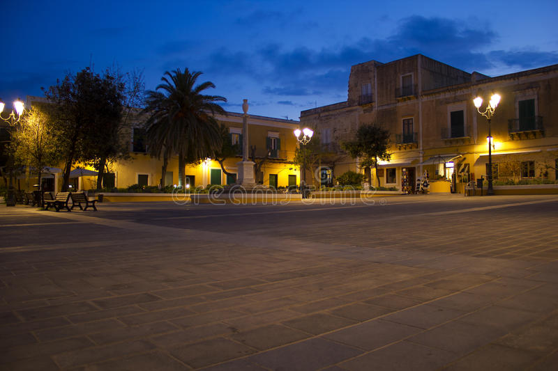 Ventotene castle square. At night royalty free stock images