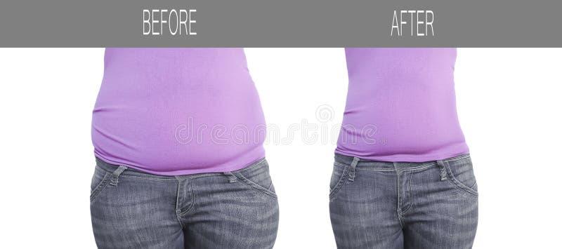 Ventre de femme avant après la perte de poids, suivre un régime sain de sports de forme photographie stock libre de droits