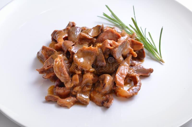 Ventrigli del pollo con la salsa di soia e della panna acida fotografia stock