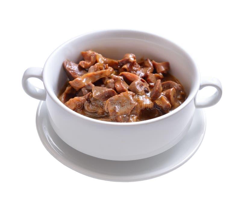 Ventrigli del pollo con la salsa di soia e della panna acida fotografia stock libera da diritti