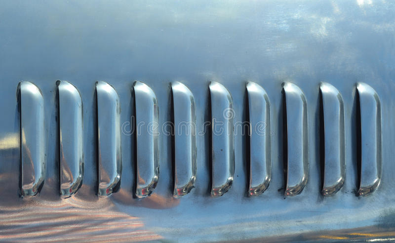 Vents in polished stainless steel. royalty free stock image