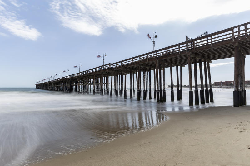 Ventura Beach and Pier in Southers California. Ventura beach and pier with motion blur water in Southern California royalty free stock image