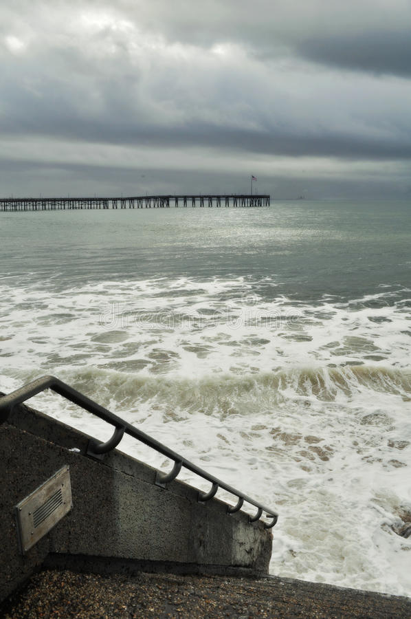 Ventura Beach Pier Surfers Point Storm royalty free stock images
