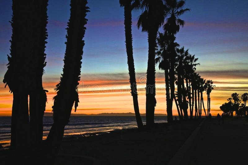 Ventura California solnedgång royaltyfri bild