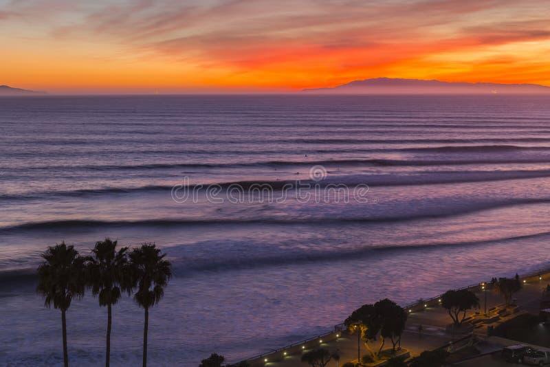 Ventura California Sunset Surf Sets stockbild
