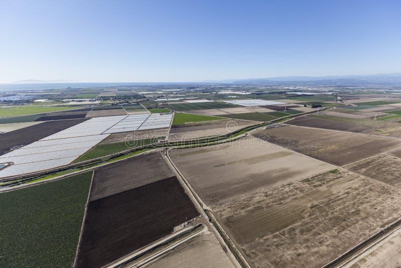 Ventura County Farms near Oxnard California. Aerial view of fertile farmland near Oxnard in Ventura County, California royalty free stock image