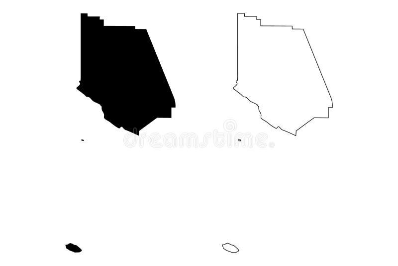 Ventura County, vetor do mapa de Califórnia ilustração do vetor
