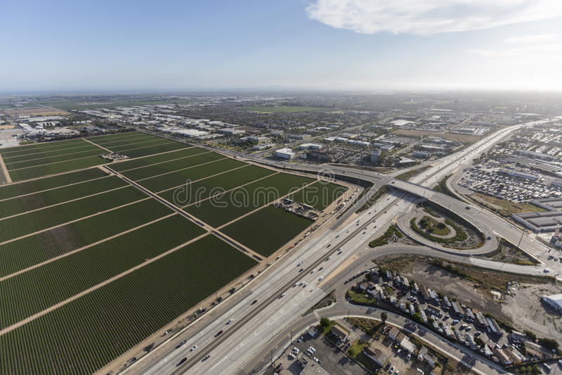 Ventura Freeway Aerial Oxnard California. Aerial view of the Ventura 101 Freeway near Rice Ave in Oxnard, California stock image