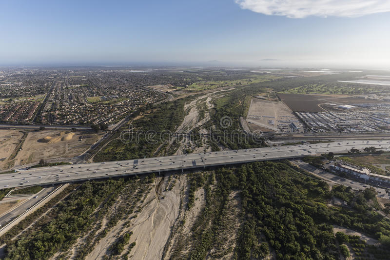 Ventura Freeway Crossing Santa Clara River image libre de droits
