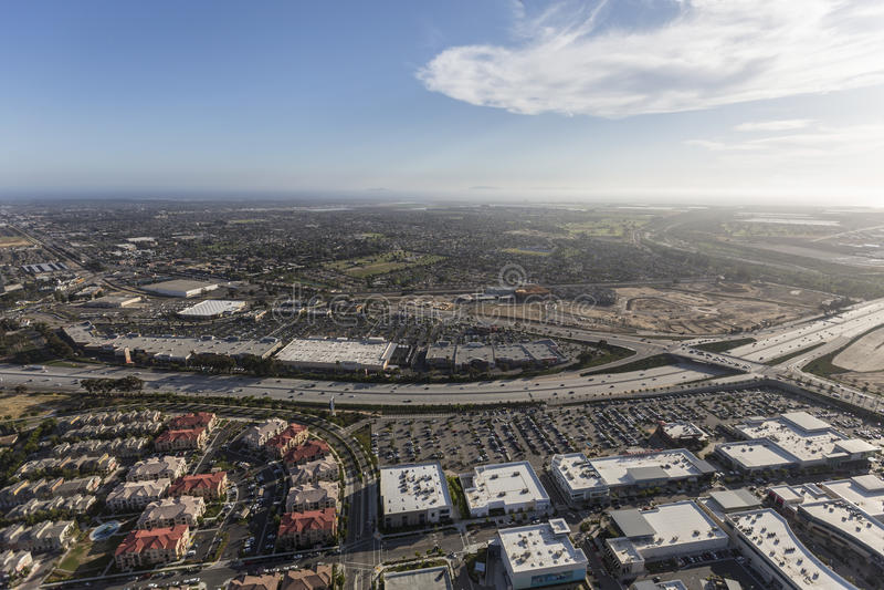 Ventura Freeway Oxnard California Aerial. Oxnard, California, USA - May 27, 2017: Aerial view of homes, buildings and shopping centers along the Ventura 101 royalty free stock images