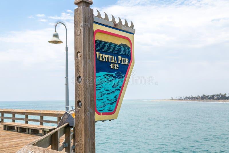Ventura Pier Signage lizenzfreies stockfoto