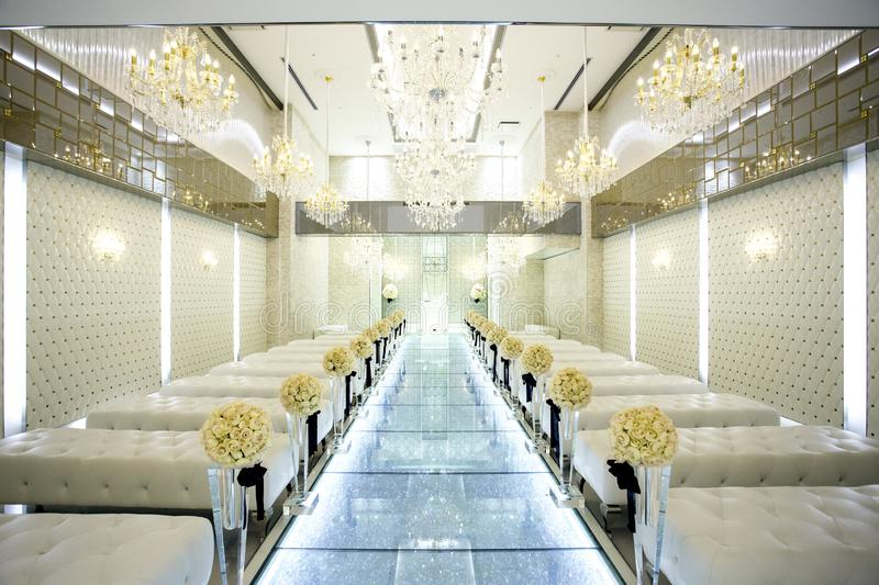 The venue for the banquet is made of glass.in Kitakyushu, Fukuoka, Japan.  stock photography