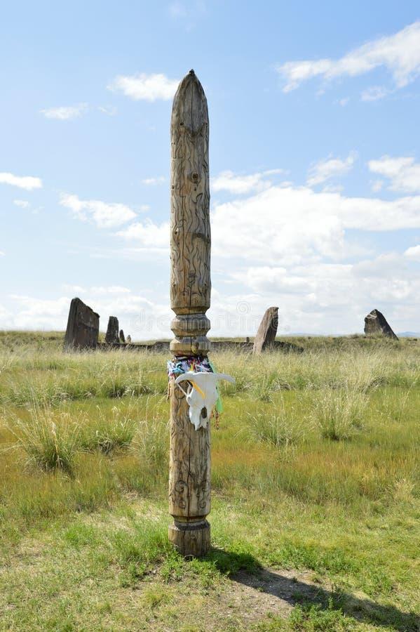 The venue for the ceremony. Salbykskiy mound. Ancient stones in the Khakass steppe. Khakass Stonehenge stock images
