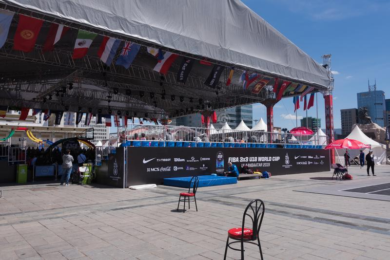 FIBA 3x3 U18 World Cup 2019 venue, Ulaanbaatar, Mongolia royalty free stock image
