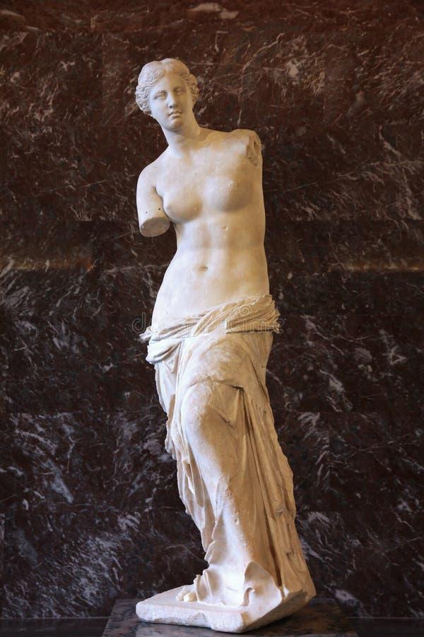 Venus de Milo. PARIS - JULY 22: Venus de Milo sculpture on July 22, 2011 in Louvre Museum, Paris, France. With 8,5m annual visitors, Louvre is consistently the royalty free stock image