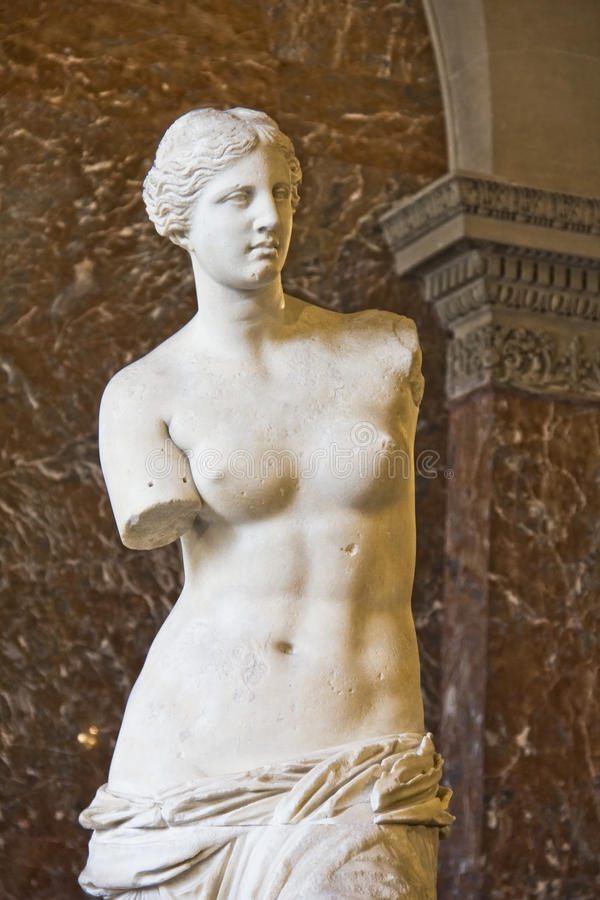 The Venus de Milo statue. September 9, 2012 in Paris, France. The Venus de Milo is the most famous statue from the ancient Greek and Louvre collection royalty free stock photo