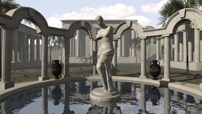 Venus de Milo y un templo del griego clásico libre illustration