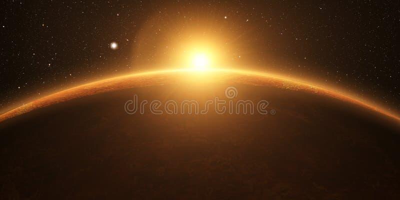 venus Filmisk och mycket realistisk soluppgång royaltyfri foto