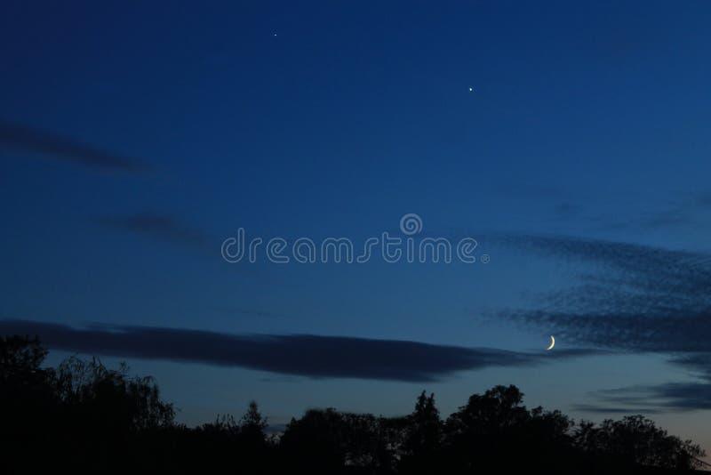 Venus Jupiter Moon Conjunction royaltyfri fotografi
