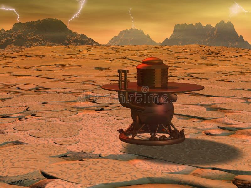 Venus landing. Space module landing on Venus surface.3d illustration vector illustration