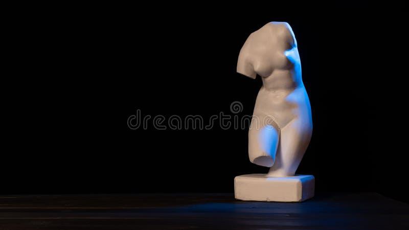 Venus plaster bust on black background royalty free stock photos