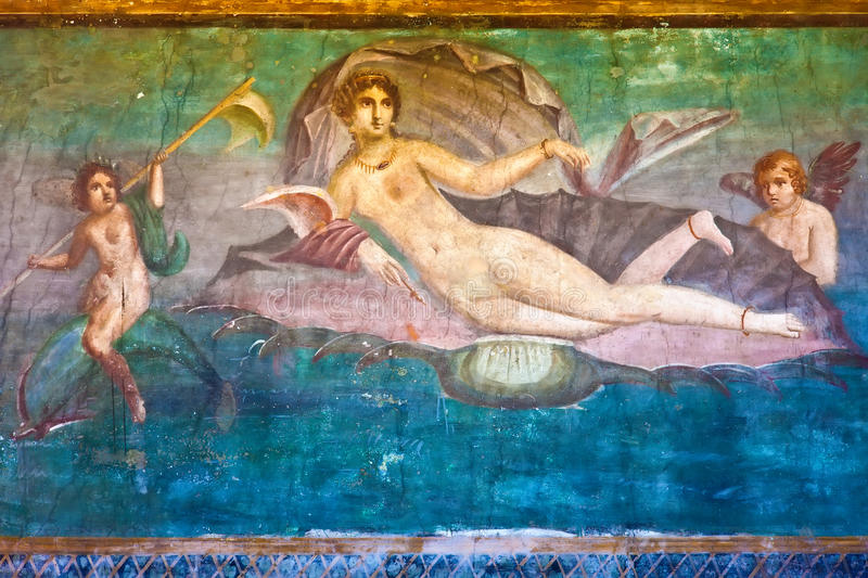 Venus in Pompeii. Ancient Roman fresco Venus in Pompeii, Italy stock photos